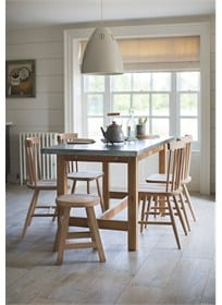 Kingham Table with Galvanised Top and Spindle Back Chairs