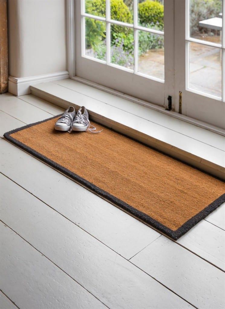 Double Doormat With Charcoal Border Coir Daisy Hardcastle