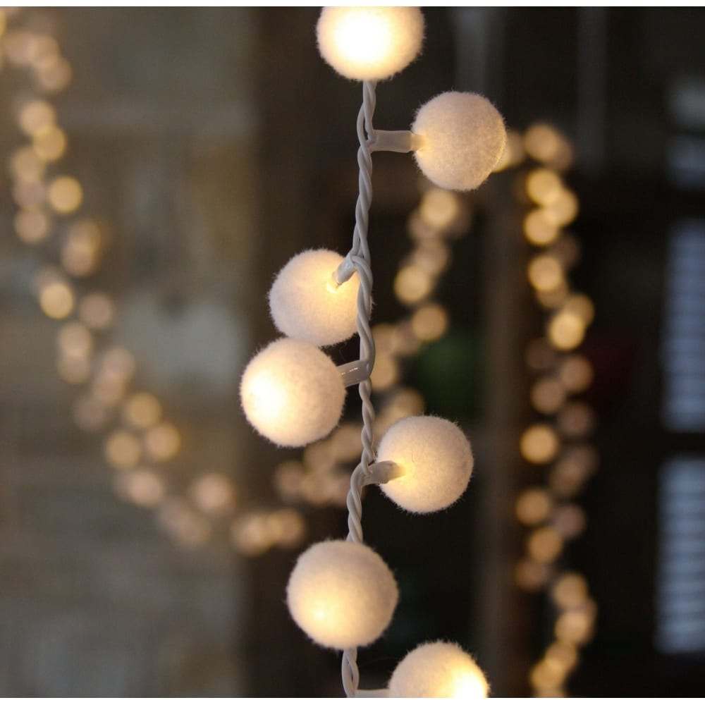 Daisy Solar String Lights: NEW LED Pom Pom Light Garland